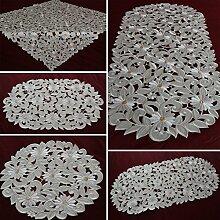 Tischläufer Tischdecke Creme-Weiß gestickt mit Mageriten Mitteldecke Deckchen (ca. 45 x 170 cm Oval)