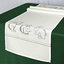 Tischläufer Tischdecke HASEN / 40x140 cm / weiß / Moderner Tischläufer zu Ostern