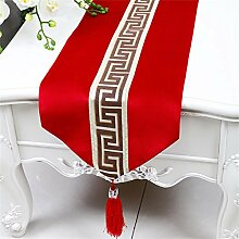 Tischläufer-tr TRRE- Chinesischer Moderner Minimalistischer Klassischer Retro Tabellen Läufer (Farbe : Rot, größe : 33*200cm)