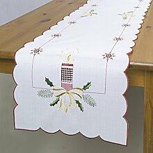 Tischläufer WEIHNACHTSKERZEN weiß / 35x140 cm / moderne Tischdecke zu Weihnachten