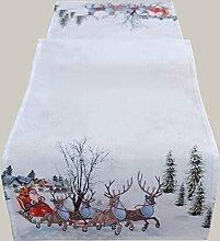 Tischläufer weiß bunt 40 x 140 cm Weihnachtsmann