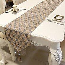 Tischläufer Wohnzimmer Esstisch Tischdecke Tee Tischläufer Bett Läufer neben Handtuch Tisch decken (Farbe : Grau)