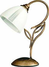 Tischlampe 30cm Glas Metall edel Lampe Jugendstil
