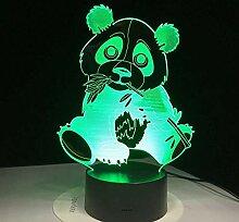 Tischlampe 3D Nachtlicht Niedlich Bambus Panda