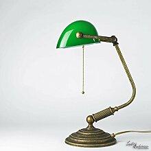Tischlampe Antik Bronze Glas Grün Echt-Messing
