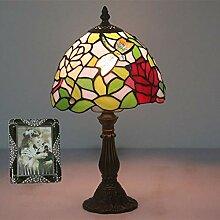 Tischlampe aus farbigem Glas,Nachttischlampe, Ø