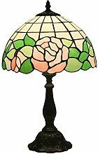 Tischlampe aus farbigem Glas,Vintage Pastoral