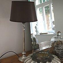 Tischlampe ELEGANZA braun silber Kunstleder Schirm Tischleuchte Landhaus