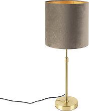 Tischlampe gold / messing mit Samtschirm taupe 25