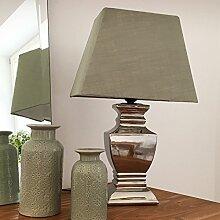 Tischlampe GRÜN SILBER 54 cm Tischleuchte Shabby Vintage Nostalgie Landhaus