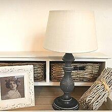 Tischlampe KARLA anthrazit-creme Holzfuss Tischleuchte Shabby Landhaus