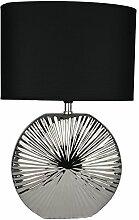 Tischlampe Leuchte 47cm Silber - schwarz | modern Tischleuchte |Leselampe Stehlampe mit schwarzem Stoffschirm | 13304 | Nachttischlampe