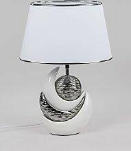 Tischlampe, Leuchte KUGEL H. 45cm weiß silber