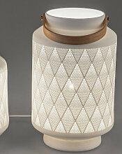 Tischlampe, Leuchte LATERNE mit Henkel H. 24cm D.
