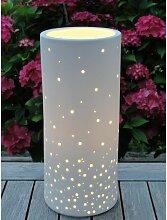 Tischlampe, Leuchte PUNKTE Porzellan weiß