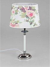 Tischlampe, Leuchte Romantik mit Rosen oval H. 46