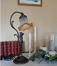 Tischlampe Messing brüniert im Jugendstil mit