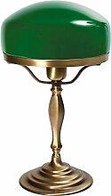 Tischlampe Messing Grün Glasschirm Handarbeit
