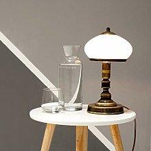 Tischlampe Messing Weiß Glas Metall rund 32cm