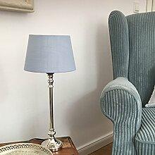 Tischlampe MILLA silber-hellblau mit rundem Schirm Tischleuchte Shabby Landhaus
