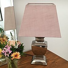 Tischlampe ROSÉ SILBER 54 cm Tischleuchte Shabby Vintage Nostalgie Landhaus