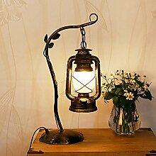 Tischlampe Schreibtischlampe Lampe Retro dekorative Tischlampe Kreatives Wohnzimmer Schlafzimmer Eisen Kunst Vintage Kerosin Lampe Laterne Studie