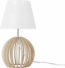 Tischlampe Weiß Holz 41 cm Stoffschirm Lampenfuß