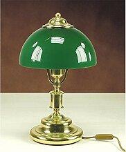 Tischleuchte Grün Echt-Messing H:41cm Jugendstil