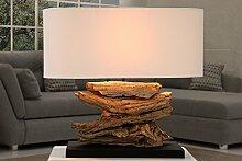 Tischleuchte Holz Natur 50cm kunstvoller Fuß aus