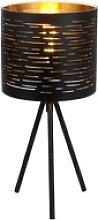 Tischleuchte schwarz rund, 3 Bein goldfarben