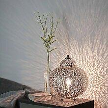 Tischleuchte Silber Orientalisch 1xE14 bis zu 60 Watt 230V aus Acryl & Metall Schlafzimmer Wohnzimmer Esszimmer Lampe Leuchten innen