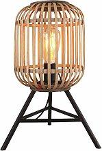 Tischleuchte Tisch-Lampe Holz Metall Korb-Lampe