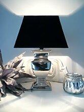 Tischleuchte Tisch Lampe Leuchte 40 cm silber - Schirm schwarz quadratisch - Shabby Landhaus