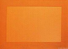 Tischset - orange - 33x46cm mit gewebtem Rand
