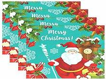 Tischsets für Esstisch mit Weihnachtsmann-Motiv,