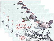 Tischsets für Esstisch, Weihnachten, Wintervogel,