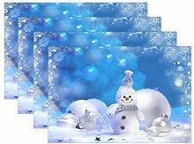 Tischsets mit Schneeflocken, Schneemann,