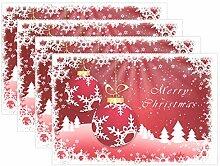 Tischsets mit Schneeflocken und Bällen, Rot, 8