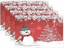 Tischsets mit Schneemann und Schneeflocke,