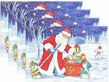 Tischsets mit Weihnachtsmann und Schneemann, 1