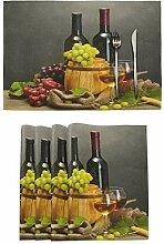 Tischsets mit Weingläsern und Trauben auf Holz, 1