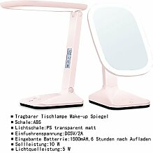 Tischspiegel mit LED Licht Schminklicht Spiegel Schminktisch Lampe rosa JL85