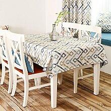 Tischtuch,Fabric American Land Stripe Tisch Tuch,Rechteckig Tischtuch Rural Kleines Frisches Tv-schrank Tuch-B 135x175cm(53x69inch)