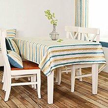 Tischtuch,Fabric American Land Stripe Tisch Tuch,Rechteckig Tischtuch Rural Kleines Frisches Tv-schrank Tuch-A 135x215cm(53x85inch)