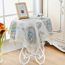 Tischtuch Kaffee Tuch,Ländliche Tischdecke,Stoff Nachahmung Leinen Wasserlösliche Hohlspitze Tischdecke-D 110x150cm(43x59inch)
