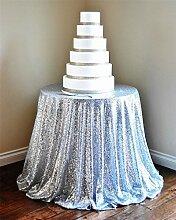 Tischtuch, rund, mit Pailletten, glamourös, glitzernd, bestickte Tischdecke für Hochzeiten/Events, in jeder Größe erhältlich, von TRLYC, Sonstige, silber, 228,6 cm