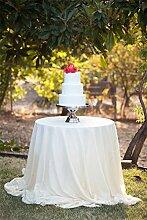 Tischtuch, rund, mit Pailletten, glamourös, glitzernd, bestickte Tischdecke für Hochzeiten/Events, in jeder Größe erhältlich, von TRLYC, Sonstige, weiß, 228,6 cm