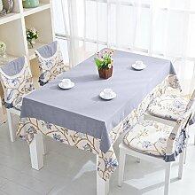 Tischtuch/Stoffe Baumwolle, Bestickte Bettwäsche Garten Tischdecke/Kontinentalen Mediterranen Couchtisch Tischdecke-B 140x220cm(55x87inch)