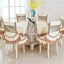 Tischtuch/Stuhl Abdeckung Pad Set-stil Sessel Couchtisch Großen Tisch Tischdecke/Der Stil Der Abgerundete Rechteckige Tischdecke-E Durchmesser180cm(71inch)