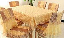 Tischtuch Tischdecke Lace Esstisch Tuch Stuhl Set Kissen Stuhl Set, Continental Stoff Pastoral Tee Tischdecke Rechteck Tischdecke Stuhl Set Tischsets ( Farbe : B , größe : 1 pad+1 back )